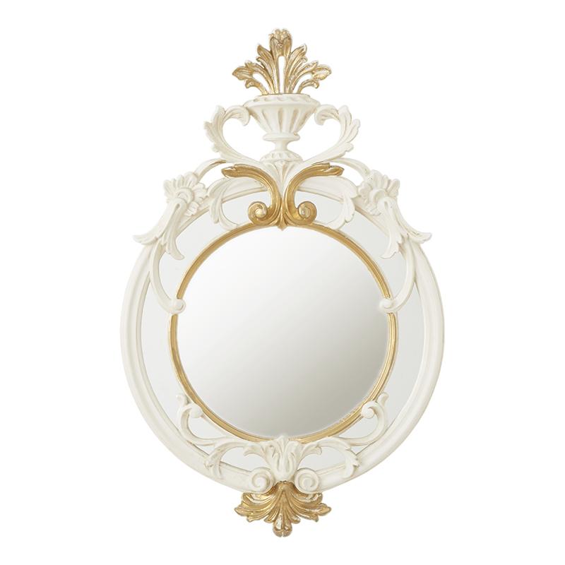 クラシック調フレーム ウォールミラー 丸形 ホワイト&ゴールド 高さ約56cm