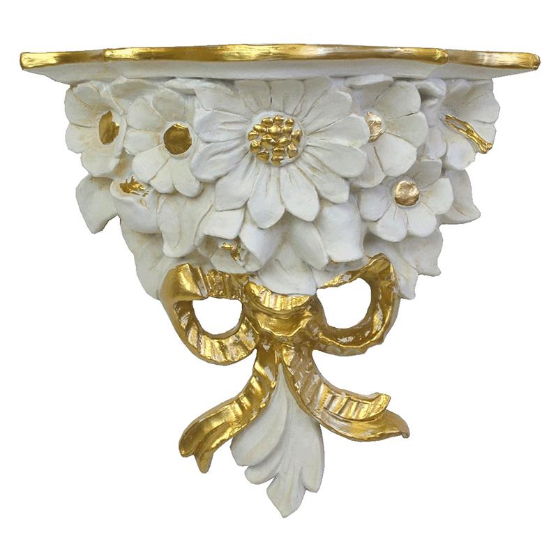 クラシック調フレーム 壁掛けコンソール 花束/ホワイト&ゴールド 幅27.5cm ※装飾品用
