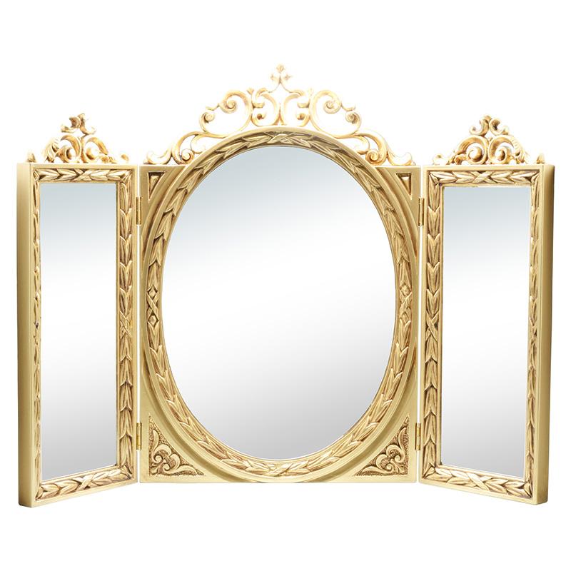 クラシック調フレーム 3面鏡 ゴールド ※壁掛け不可