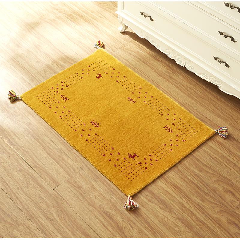 【インド産】 ハンドルームギャベ ソリッドタイプ ゴールド ※サイズ:全5種類 天然ウール100% 床暖房・ホットカーペットカバー対応